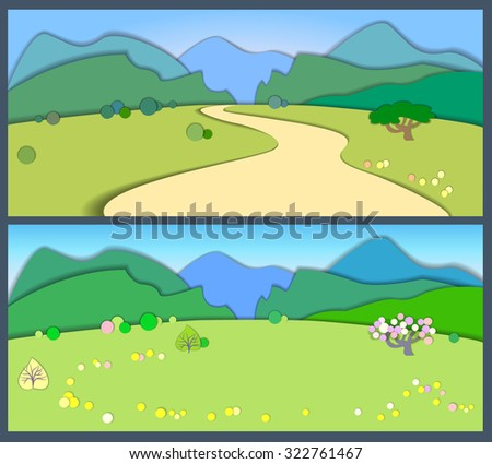 Flat design nature landscape illustration with blue  mountains, hills and trees . Flat style land scenic.Summertime and spring
