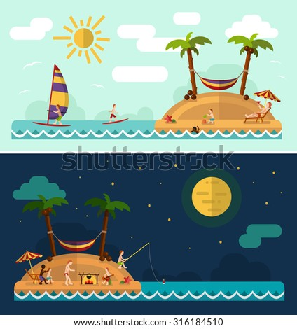 Flat design nature landscape illustration with tropical island, sun, palm, hammock, fishing man, swimming man, surfing, moon and clouds. Family summer vacation on tropical island. - stock vector