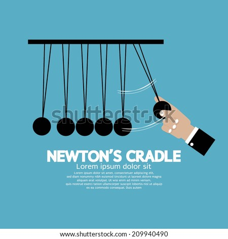 Flat Design Newton's Cradle Vector Illustration - stock vector