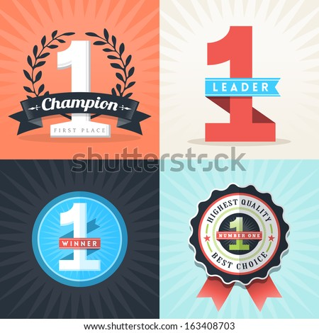 Flat Design Number One First Place Winner ribbons and badges