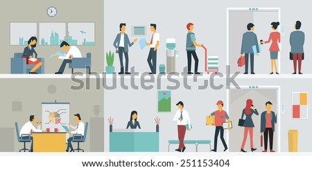 Flat design of business people or office workers in interior building, various characters, actions and activities.  - stock vector