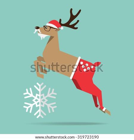 Flat design of Christmas reindeer in jump action. Cartoon Character. Vector Illustration - stock vector