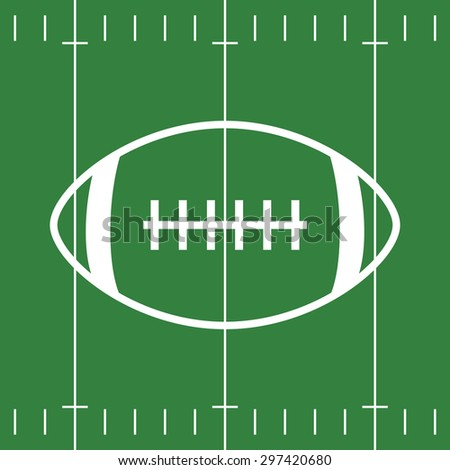 Flat Design of green Football Field and white Ball - stock vector