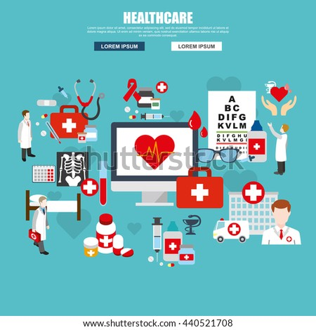 Flat design of healthcare services, online medical support, health insurance, pharmacy and family health care, disease prevention. Modern vector illustration concept for website or infographics.