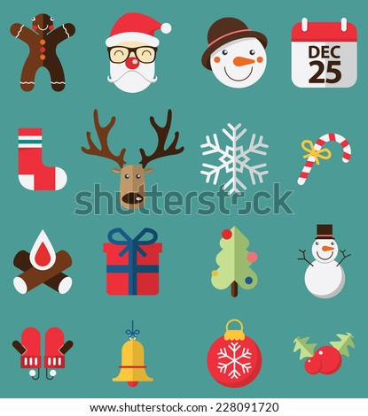 Flat design of icons set  for Christmas. Vector. Illustration. - stock vector