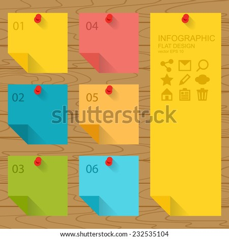 Flat design of infographics elements, colorful sticky notes - stock vector