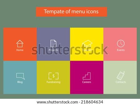 Flat design of menu for your website or app - stock vector