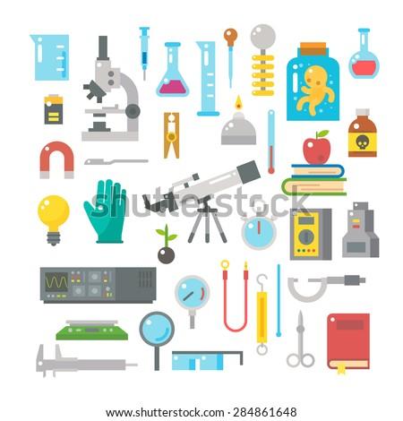 Flat design of science equipments set illustration vector - stock vector