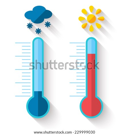 Flat design of Thermometer measuring heat and cold, with sun and snowflake icons, vector illustration - stock vector