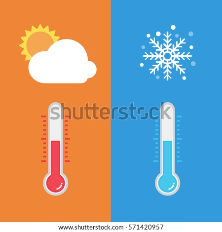 flat design of thermometer measuring heat and cold with sun and snowflake icons vector