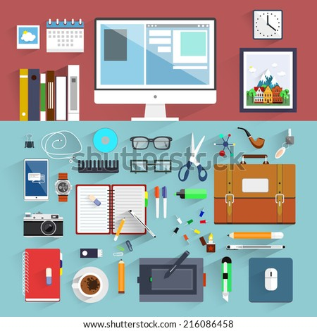 Flat design.Offic e Worker. Icon collection in stylish colors of business work flow items and elements, office things,equipment, objects.Workplace concept. - stock vector