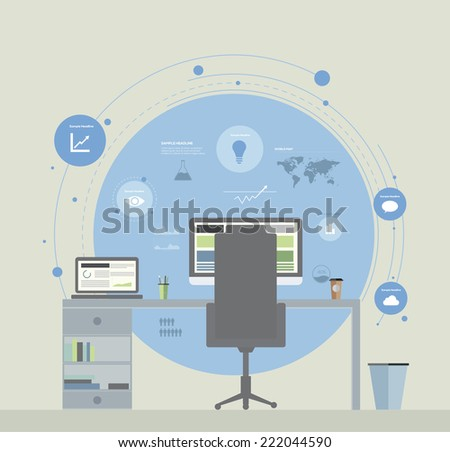 Flat Design Office Infographic Concept. Vector illustration - stock vector