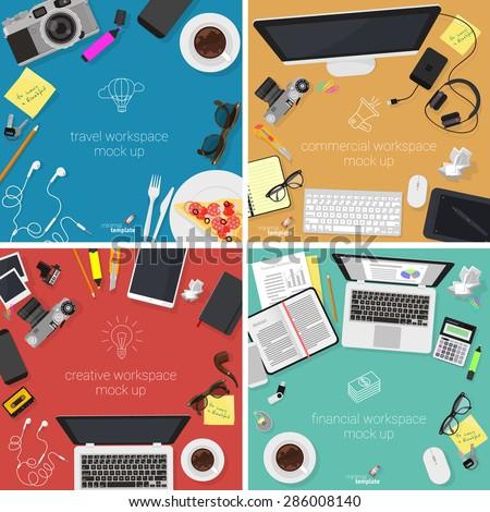 Flat design office workspace mock-ups. Minimalist vector template set. - stock vector
