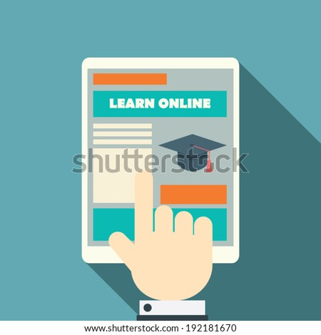 Flat design online education concept with responsive web design on modern devices. Eps10 vector illustration. - stock vector