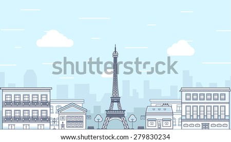 Flat design Paris, France with Eiffel tower. Vector illustration - stock vector
