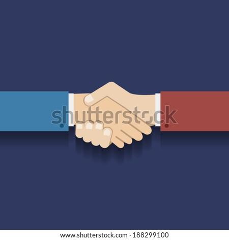 Flat Design Partnership Symbol Businessman Handshake Vector Illustration - stock vector