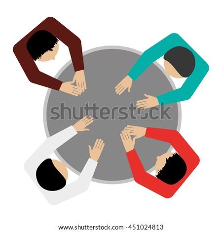 flat design people sitting topview icon vector illustration