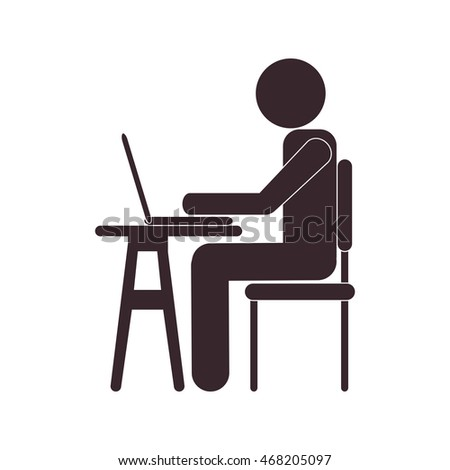 flat design person using laptop icon vector illustration
