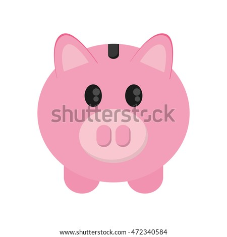 flat design piggy bank icon vector illustration