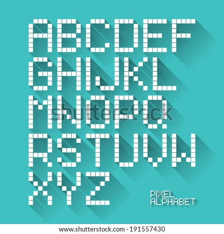 Flat design pixel alphabet. Vector.