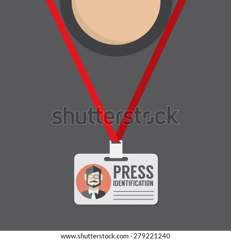 Flat Design Press Identification Vector Illustration - stock vector
