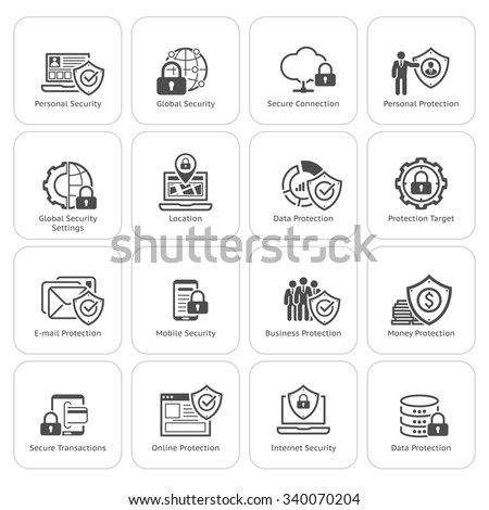 Flat Design Protection and Security Icons Set.  Isolated Illustration. - stock vector