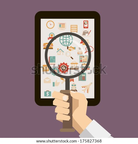 flat design retro style icon hand with a mobile device magnifying glass search network concept illustration vector - stock vector