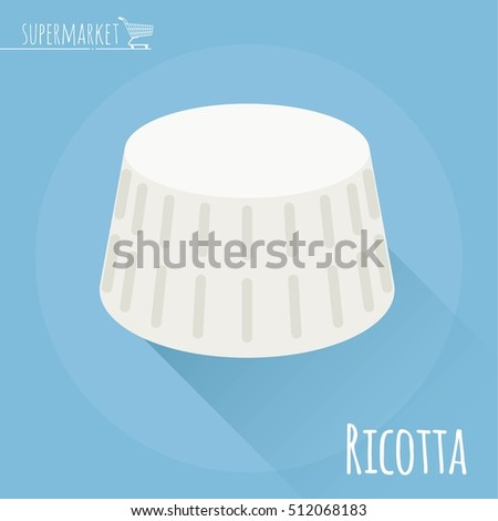 Flat design ricotta cheese vector icon on light blue background with long shadow