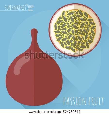 Flat design ripe exotic passion fruit vector icon