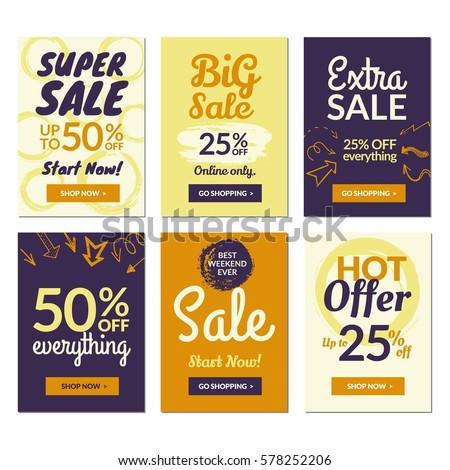 flat design sale website banners mobile stock vector 578252206