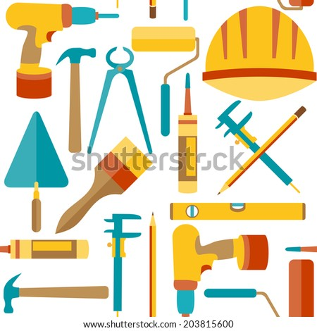 Flat design. Seamless pattern of house repair icons - stock vector