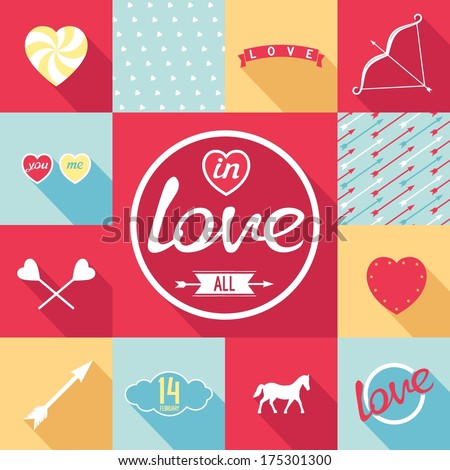 Flat design set for love. Symbols, elements, patterns in pop-art style. Vector eps8 - stock vector