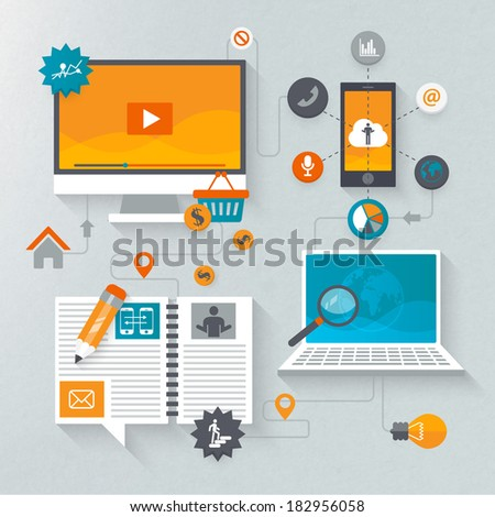 Flat design set for marketing - stock vector