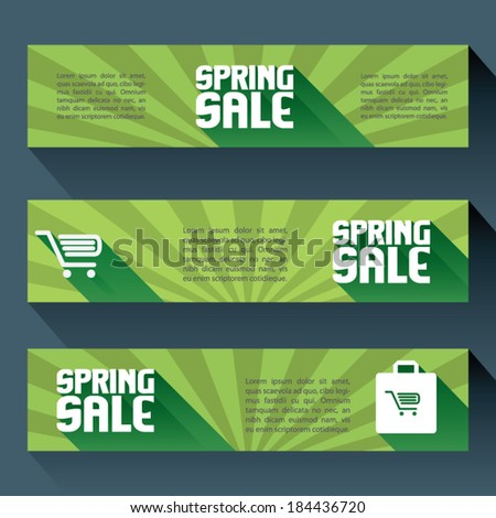 Flat design set of horizontal spring sale banners with space for text. Eps10 vector illustration - stock vector