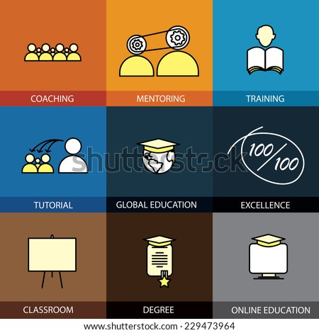 Flat design set of vector line icons of coaching mentoring training tuition tutorial classroom online & global education school college degree certificate infographics style concept collection - stock vector