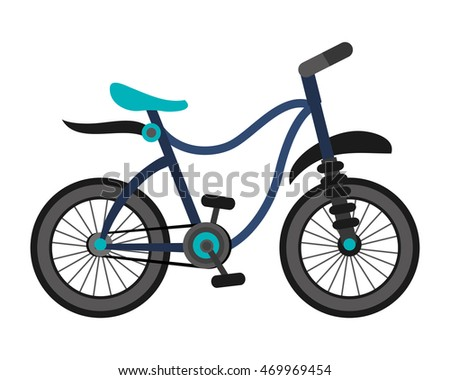 flat design single blue bike icon vector illustration
