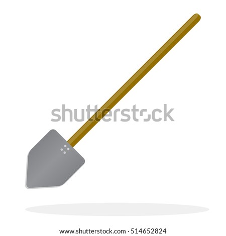 Flat design. Snow shovel icon and digging sign, vector illustration