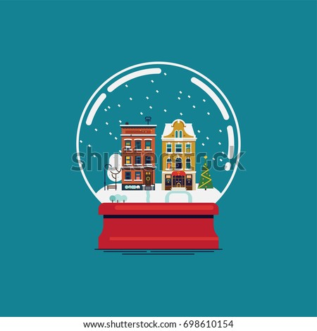 Flat design souvenir snow globe with little town in winter. Christmas gift vector design element