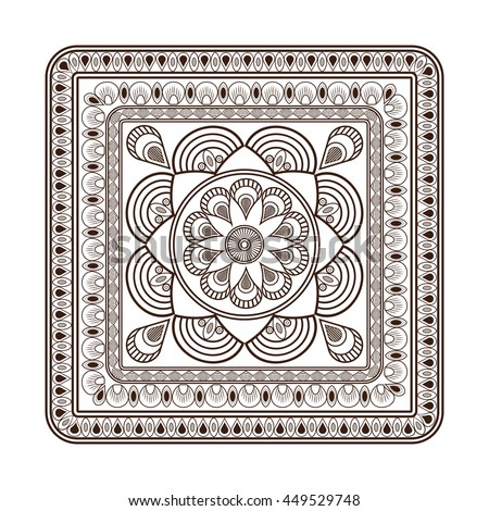 flat design squared decorative line mandala icon vector illustration