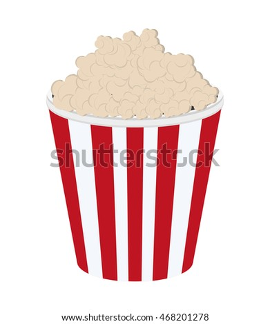 flat design striped popcorn bag icon vector illustration