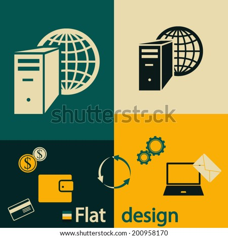 Flat design style. Business and financial concept, set icons, vector illustration.  - stock vector