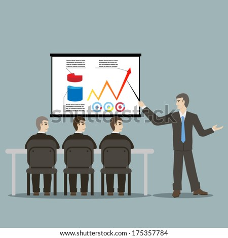 flat design style cartoon meeting businessman pointing presentation infogarhics board concept illustration vector - stock vector