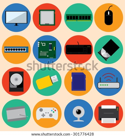 Flat Design Style Computer Hardware and Device, Vector Illustration