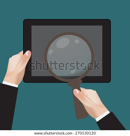 flat, design, style, icon, hand, mobile, device, magnifying, glass, vector, illustration. - stock vector