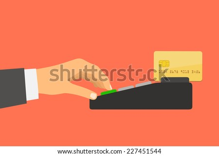 Flat design style illustration. Hand holding a credit card spends in the payment terminal - stock vector