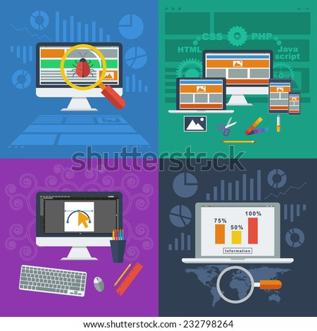 Flat design style modern vector illustration concept for web and infographic. Management digital marketing  and analytics design, graphic design, website seo optimization and web development launch. - stock vector