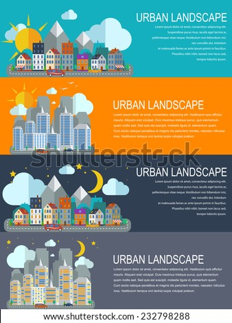 Flat design style modern vector illustration concept for web banners and infographic. City landscape at daylight, evening and night. - stock vector