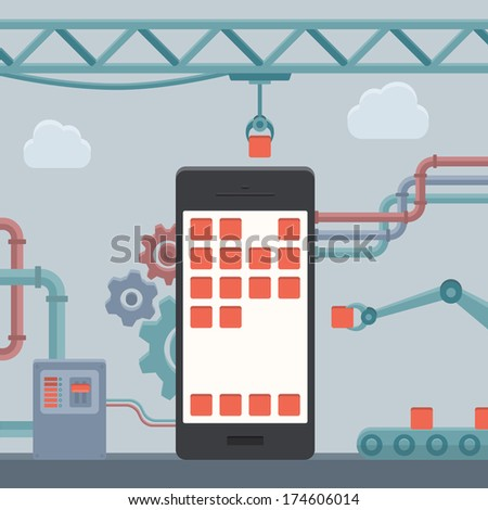Flat design style modern vector illustration concept of abstract mobile phone construction, smartphone user interface engineering and mobile application development. Isolated on stylish background - stock vector