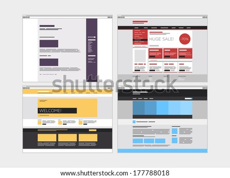 Flat design style modern vector illustration concept of abstract website design user interface set with simple web elements and minimalistic menu navigation layout. Isolated on white background - stock vector