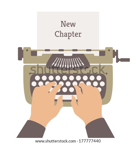 Flat design style modern vector illustration concept of author writing a new chapter in a novel story on a manual vintage stylish typewriter. Isolated on white background - stock vector